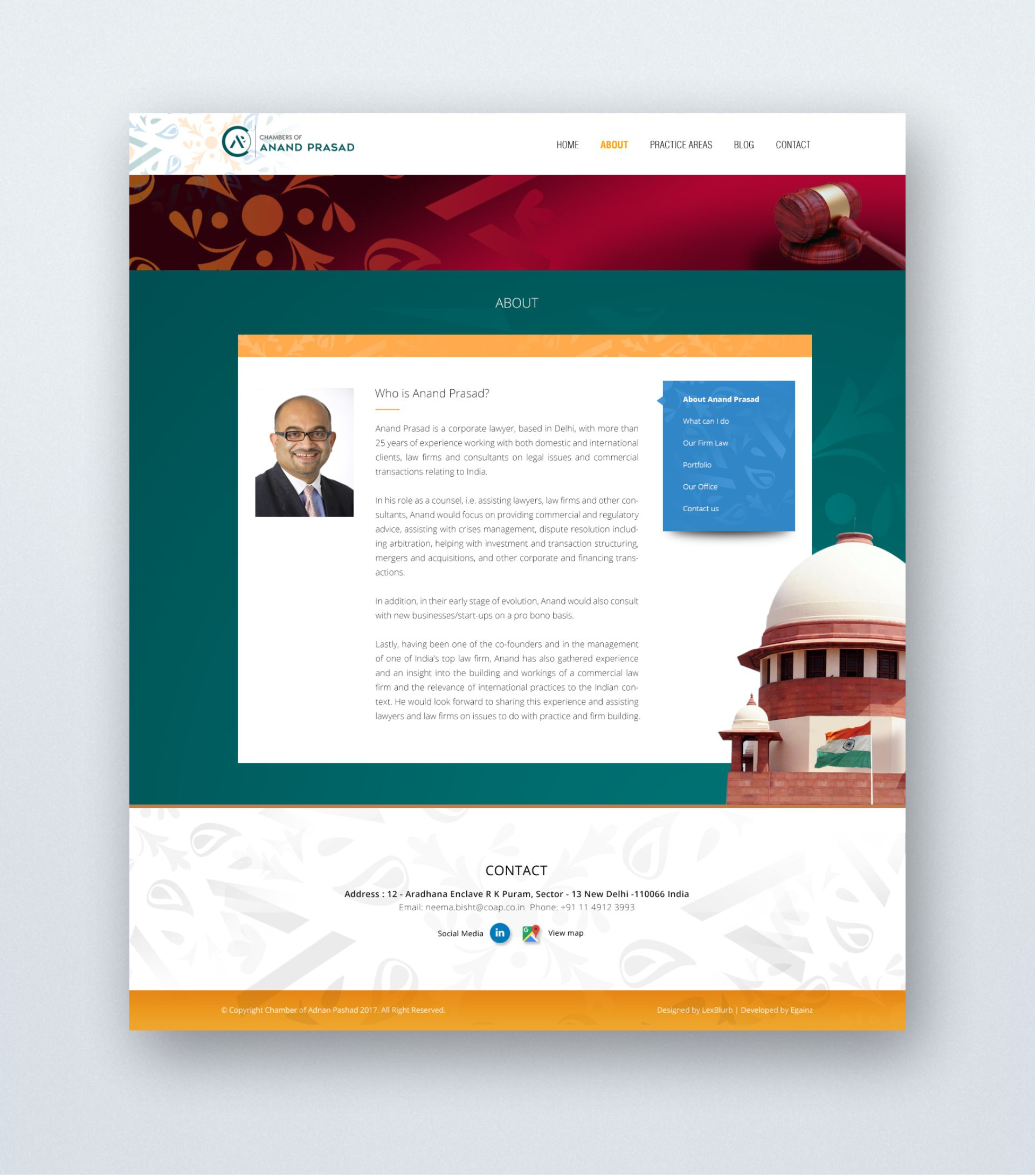 Chambers of Anand Prasad - Website Design - About