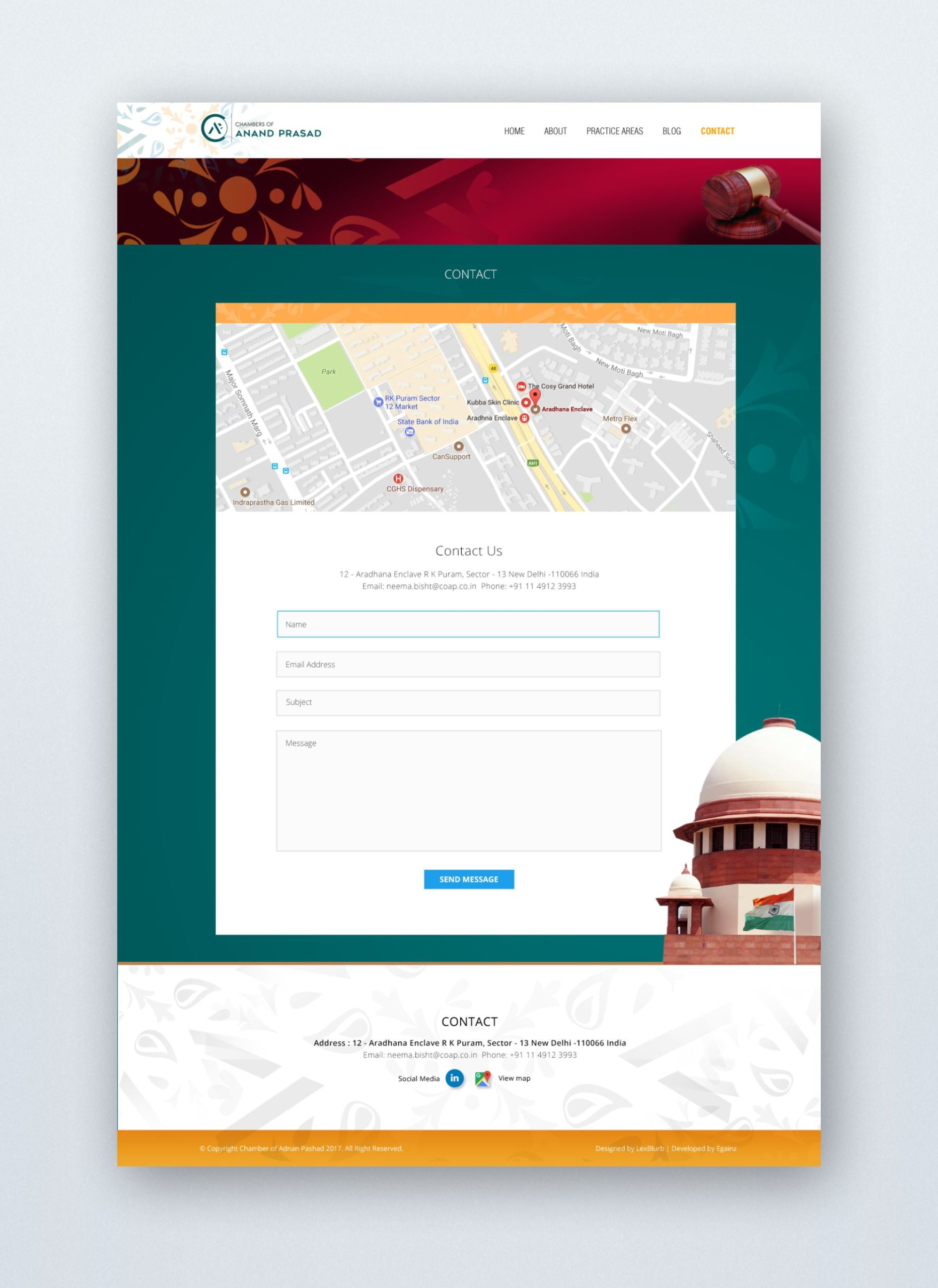 Chambers of Anand Prasad - Website Design - Contact
