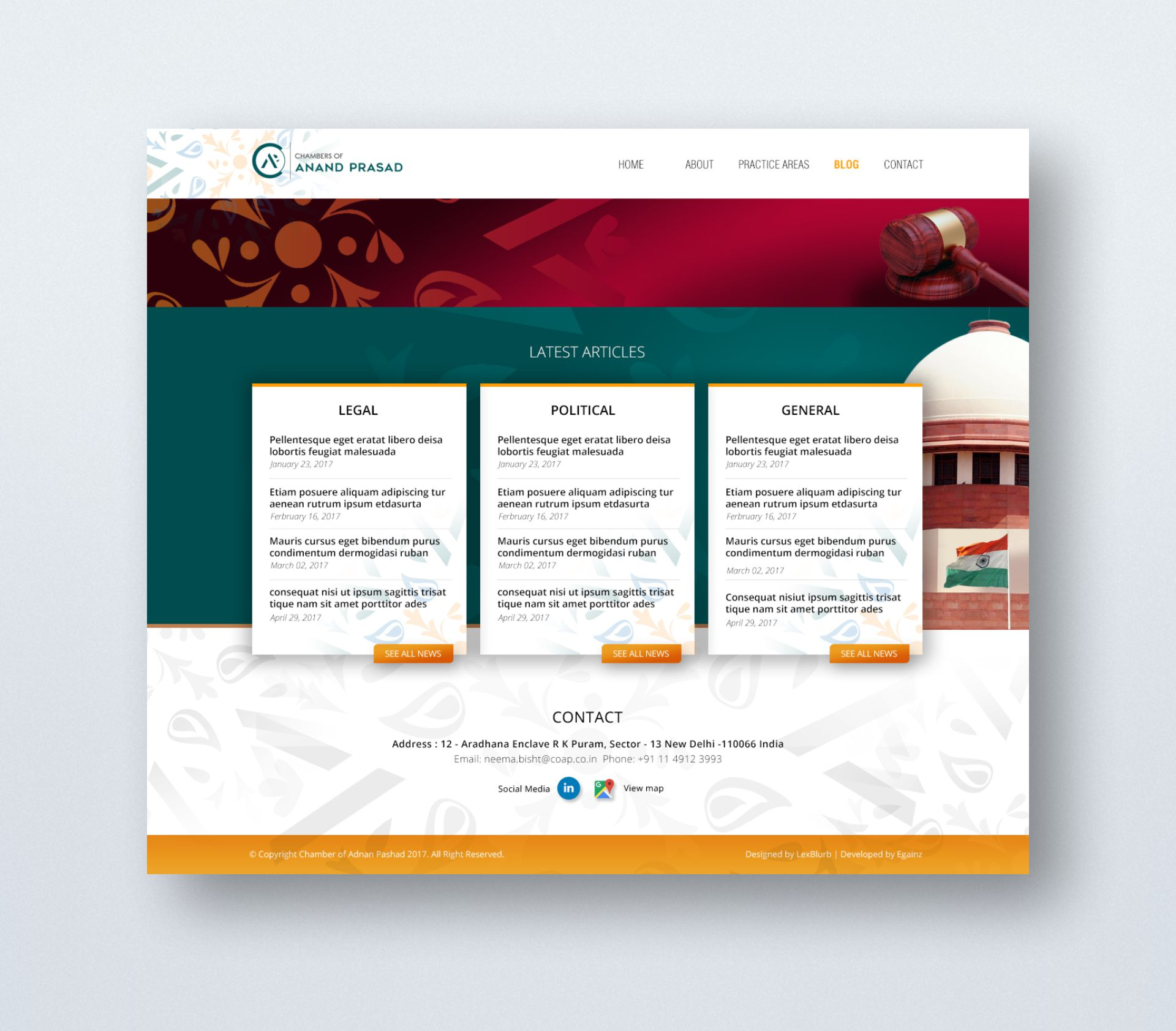 Chambers of Anand Prasad - Website Design - Home