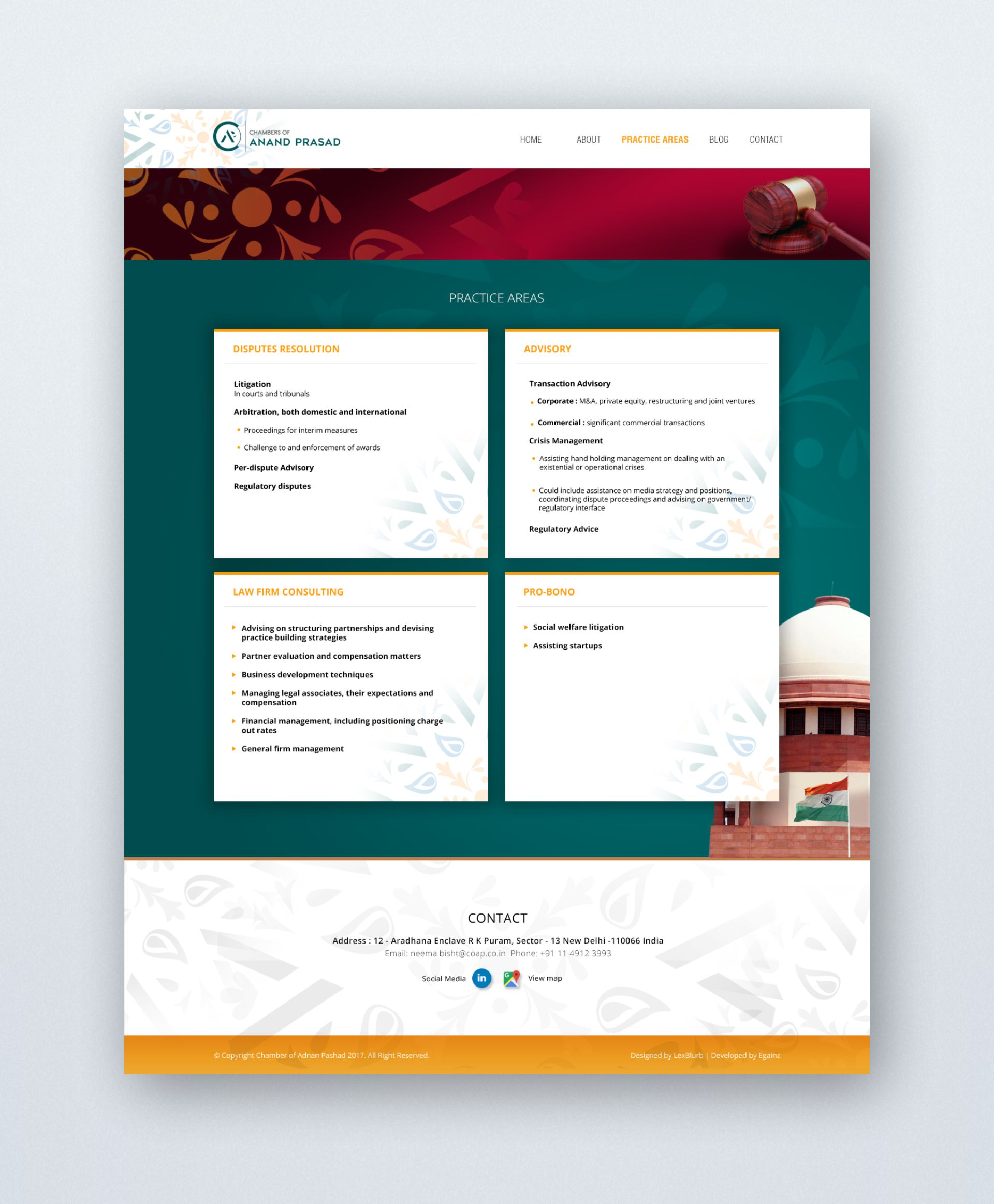 Chambers of Anand Prasad - Website Design - Practice Areas